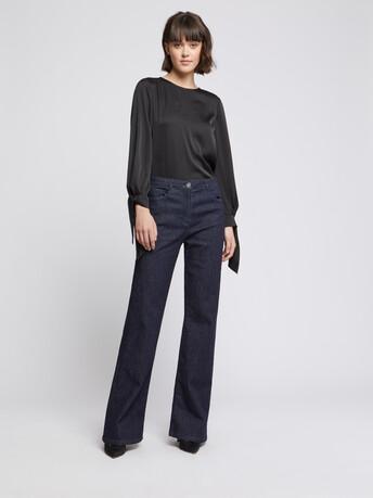 Silk bow top - Noir