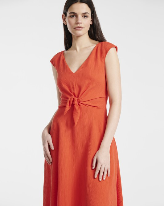 Dress in viscose seersucker - Pasteque