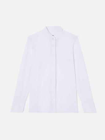 Stretch cotton poplin shirt - White