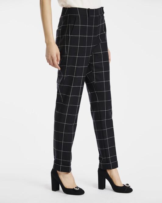 Pantalon en laine carreaux craie - Noir / blanc