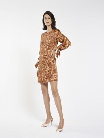 Leopard-print twill dress - Bordeaux / jaune