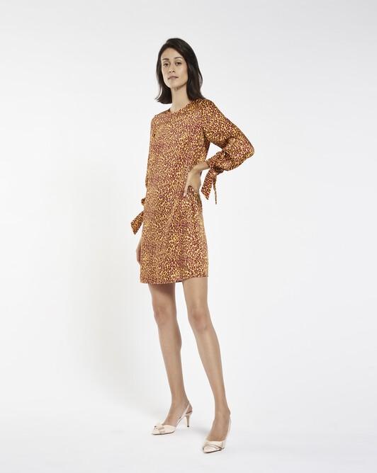 Robe en twill imprimé panthère - Bordeaux / jaune