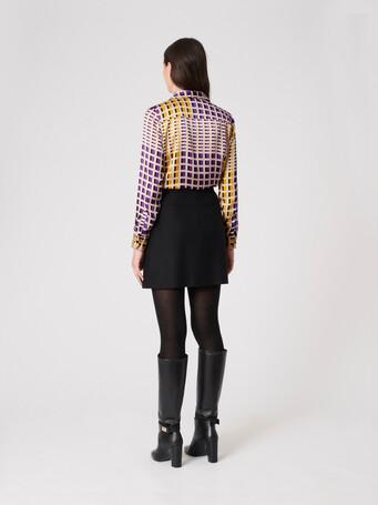 Satin shirt - Ocre/amethyste