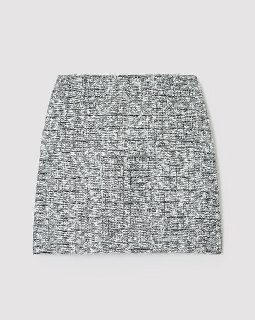 Straight-cut tweed skirt