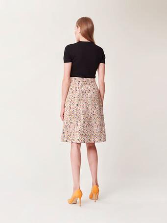 Bi-material jacquard dress - Multicolore