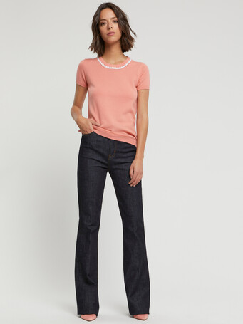Wool and cashmere sweater - Eau de rose / blanc casse