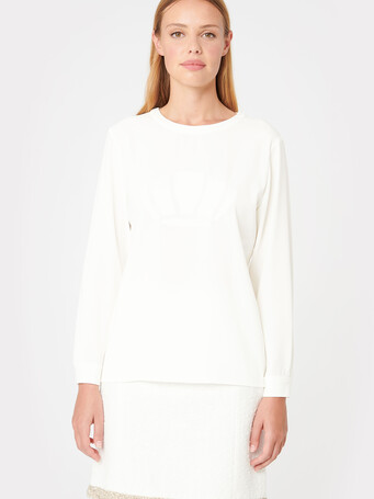 Satin-back crepe top - Off white