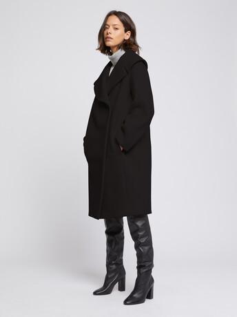 Manteau à col XXL en drap de laine - Noir