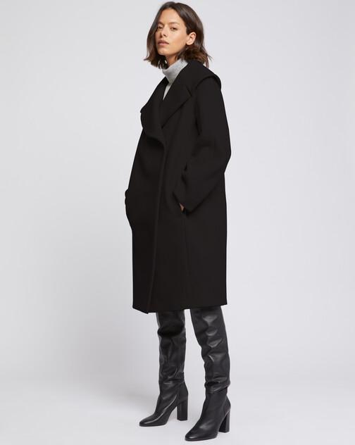 Manteau à col XXL en drap de laine