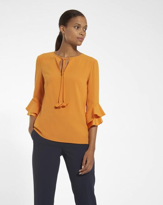 Top in satin-back crepe - Tangerine