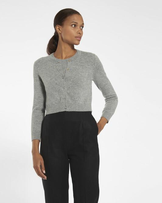 Cashmere wool cardigan - souris