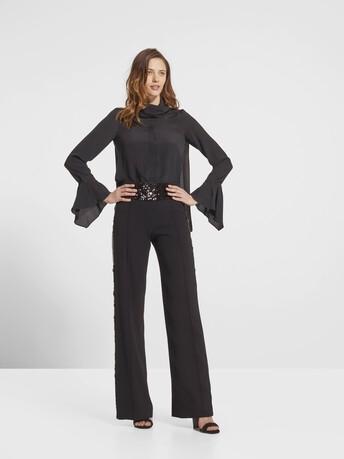 Satin-poplin pants - Noir