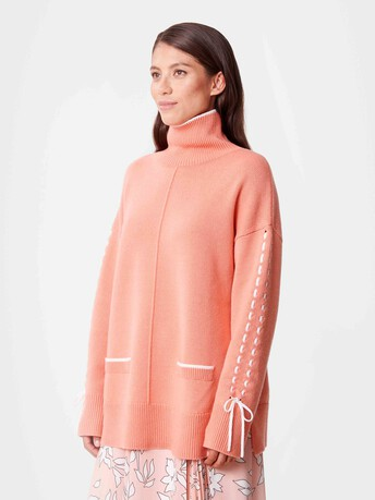 Wool and cashmere sweater - Eau de rose / blanc casse