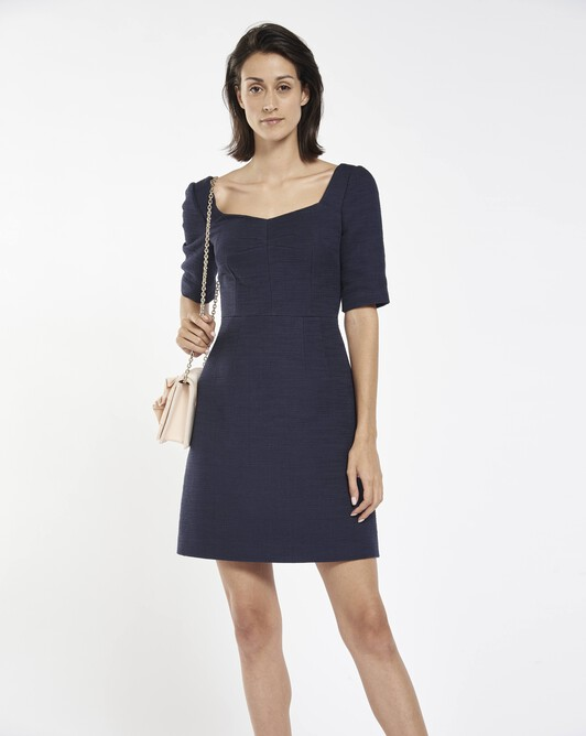 Cotton dobby dress - Navy blue