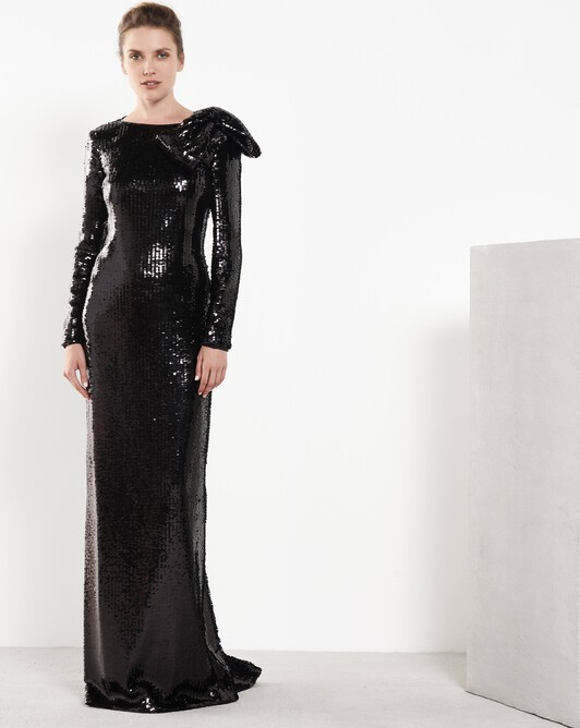 Sequinned gown - Noir