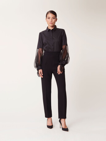 Satin-poplin and organza shirt - Noir