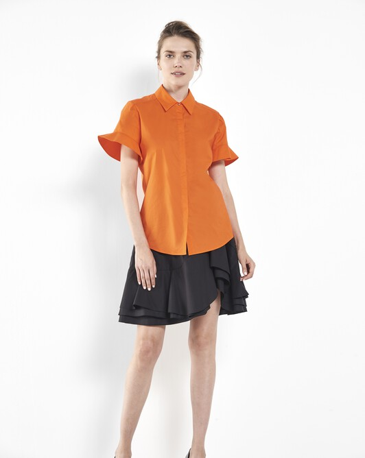 Cotton-poplin shirt - Orange
