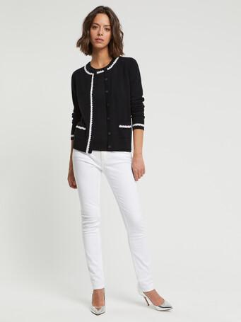 Cardigan long en laine et cachemire - Noir / blanc casse