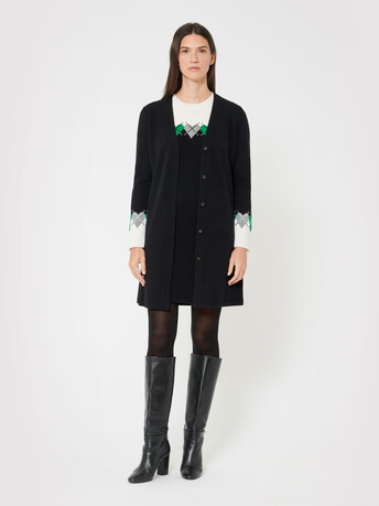 Wool and cashmere cardigan - Noir / emeraude