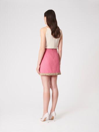 Plumetis canvas skirt - Bubble gum