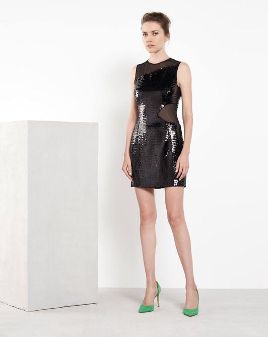 Short sequinned dress - Noir