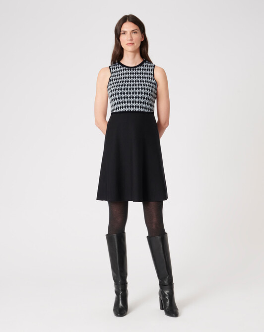 WOVEN DRESS - Noir / souris