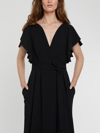 Robe longue à volants en crêpe envers satin - Noir