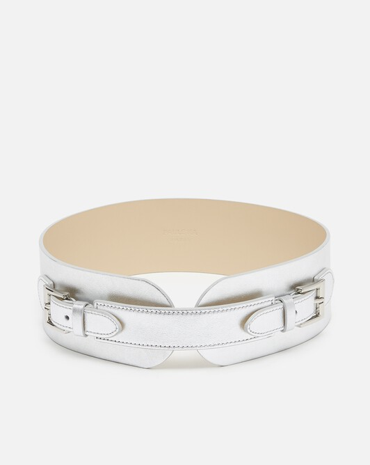 Metallic leather belt - Silver