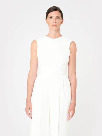 Satin-back crepe jumpsuit - Off white