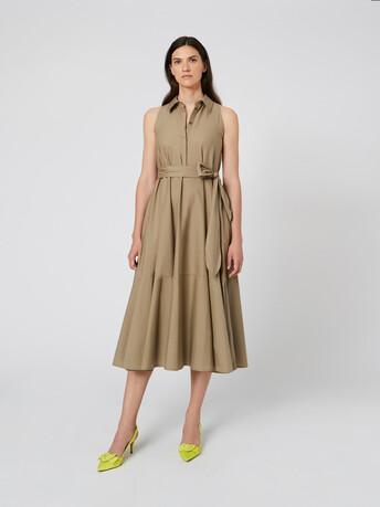 Cotton poplin dress - Taupe