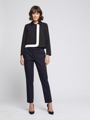 Veste courte graphique en tricotine stretch - Marine / noir