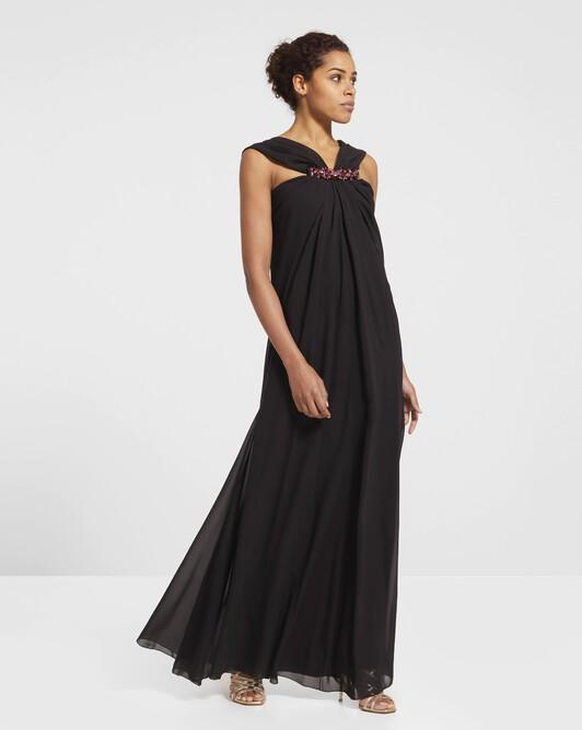 Robe longue en mousseline - Noir