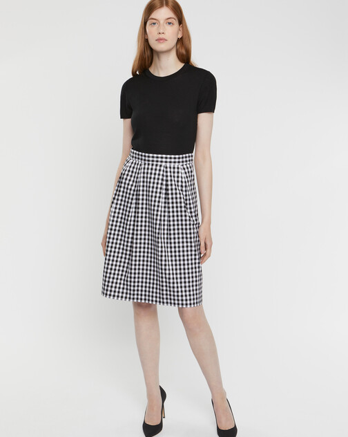 Two-tone checked stretch dress