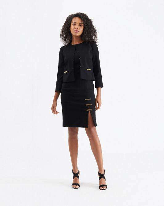 Cotton-tricotine jacket - Noir