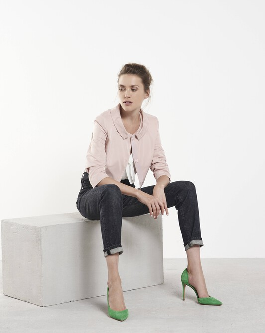 Cropped faille jacket - Rose pale