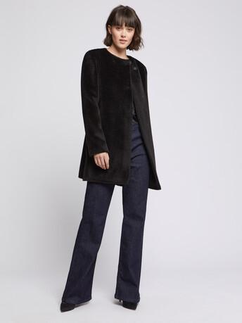 Manteau mi-long en alpaga - Noir