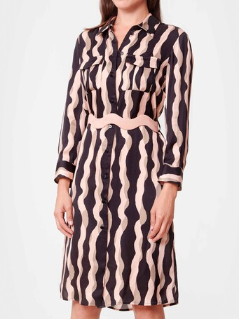 Print satin dress - Poudre / noir