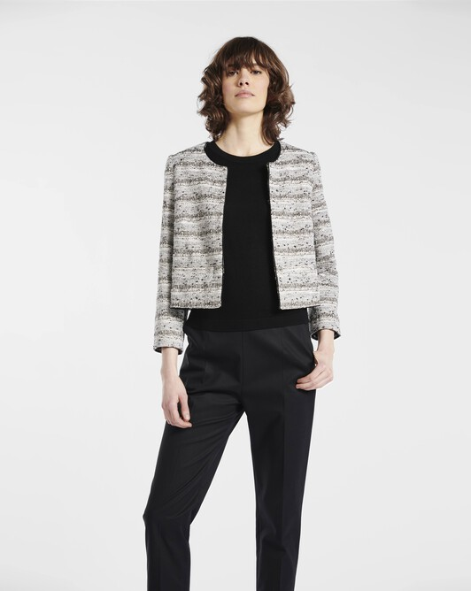 Jacket in fine black-and-white tweed - Black / white