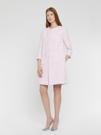 Ribbon-tweed coat - Opale