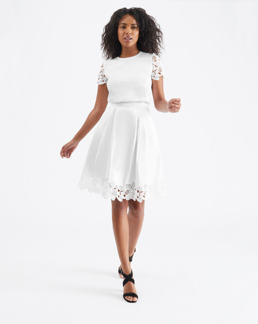 Guipure lace skirt - White