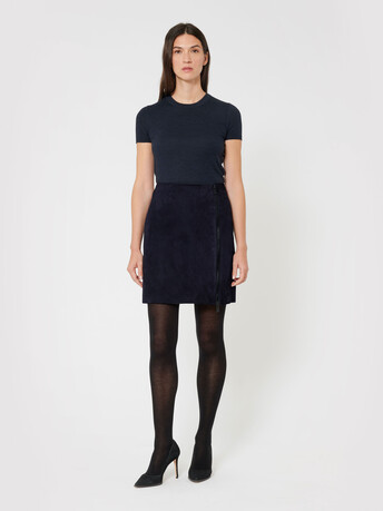 Short lambskin leather skirt - Navy blue