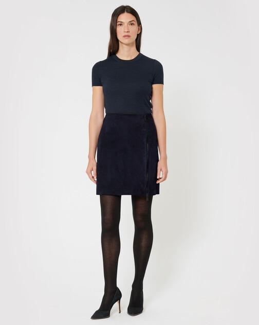 Short lambskin leather skirt