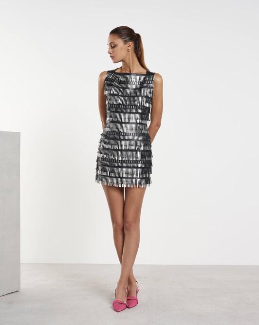 Short dress in fringed lambskin leather - Noir / silver