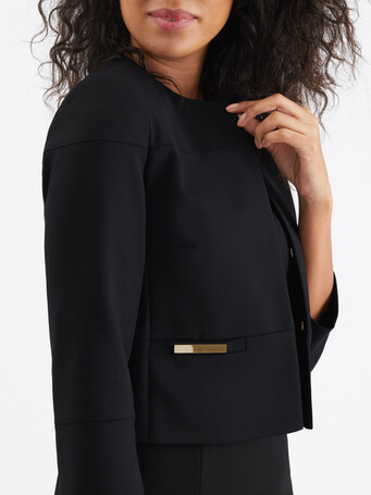 Cotton-tricotine jacket - Noir