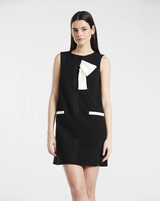 A-line dress in satin-back crepe - black / off white