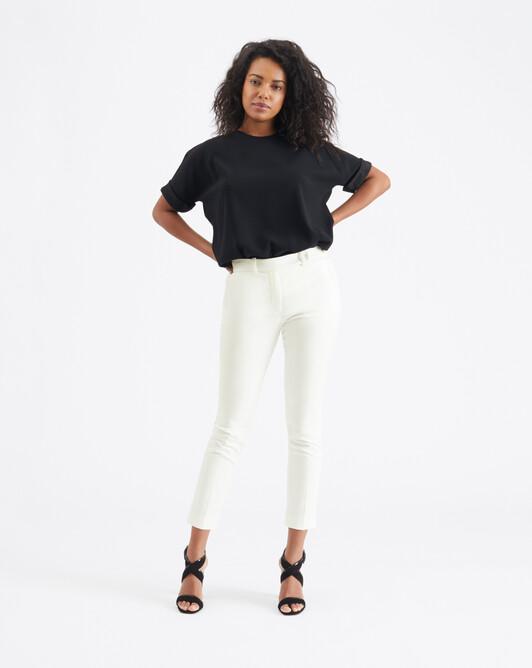 Cotton-ottoman pants - Off white