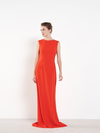 Robe longue en crêpe envers satin - Orange