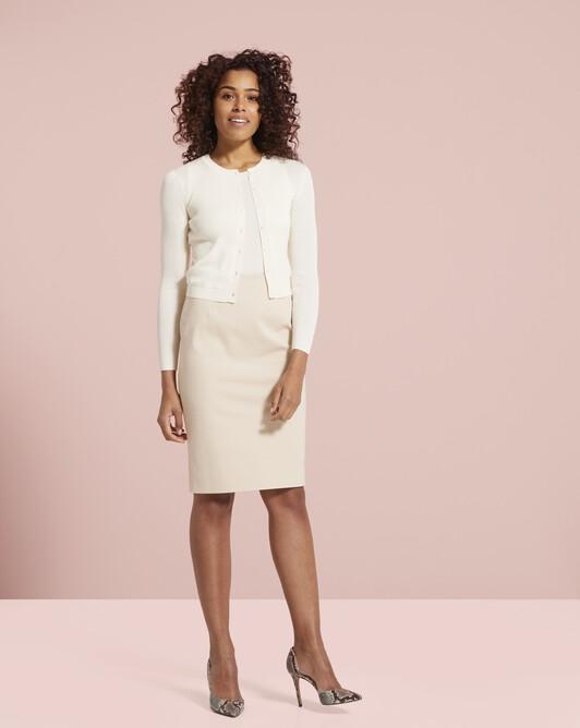 Cardigan classique en soie et coton - Blanc casse
