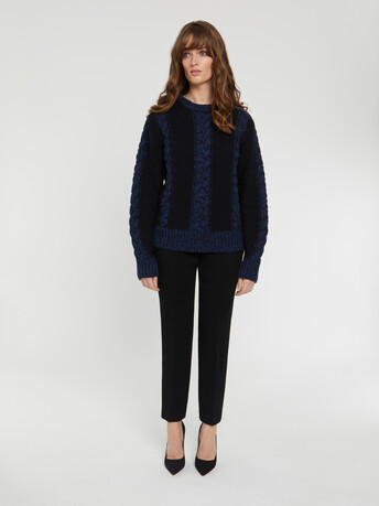 KNITTED SWEATER - Navy blue