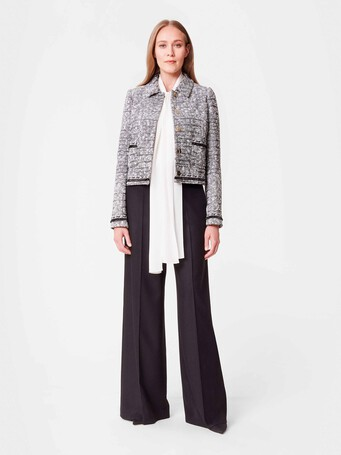 Veste trapèze en tweed - Noir / blanc